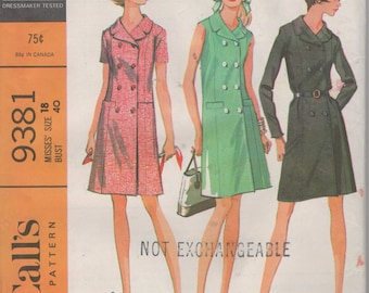 Misses Double Breasted Coat Dress Sewing Pattern - Simplicity 9381  Size 18 Bust 40 Uncut