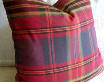 Red Blue Plaid Pillow Cover Tartan Plaid  18x18 20x20 22x22 24x24 26x26 Euro Sham