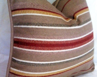 Taupe Wool Pillow Cover Taupe Burgundy Ivory Stripe Pillow Cover Wool Blanket Pillow Cover 18x18 20x20