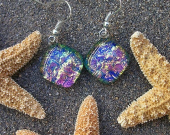Lilac and Peachy Pink Dichroic Glass Dangle Earrings