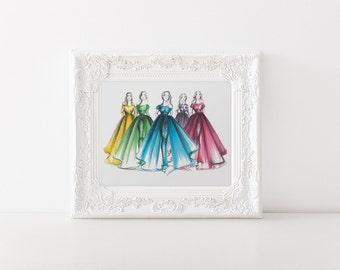 Candy colors - Fashion illustration, Fashion wall art, Fashion print, Fashion sketches, Fashion drawing, Fashion art, Fashion sketch