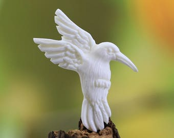 Carved Bone Hummingbird Carving High Quality Organic Jewelry and Gift Ideas - Embroidery for Wire Wrap Pendant in Gold and Silver