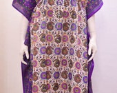 Plus Size Ethnic Paisley Floral Abstract Print Long Kaftan Dress Purple 30