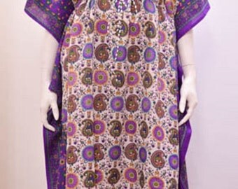 Plus Size Ethnic Paisley Floral Abstract Print Long Kaftan Dress Purple 30