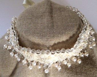 Vintage Wedding Accessories - Romantic Cream Lace & Ribbon, Pearl, Crystal Choker Necklace,