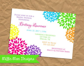 SALE 25% OFF Custom Bright Floral Invitation - Bridal Shower - Baby Shower - Retirement - Birthday Party