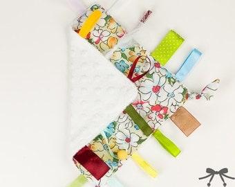 Baby Crinkle Toy, Taggie Toy, Sensory Toy, Taggie Blanket, Flower Meadow