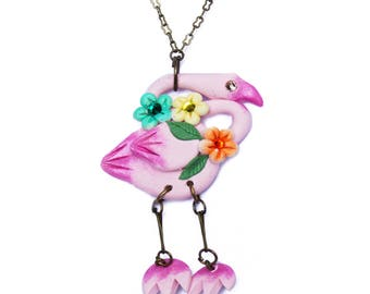 Small Tropical Pink Flamingo Necklace Retro Rockabilly Kitsch Pin Up 50s