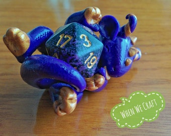 Playful Purple and Gold Dice Dragon