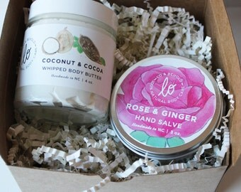 Softest Skin  Gift Set  Skincare Kit  Moisturizer  Gifts For Her  Bridesmaids Gifts Organic Natural Skincare Set of 2 Body Butter Hand Salve