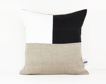 Geometric pillow in Taupe, White and Black linen - Graphic pillow - Linen color block pillow - Modern office decor - Livingroom pillows
