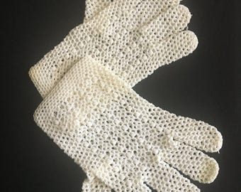 Fownes Hand Crocheted Made in Italy Gloves Vintage Ladies/Girls Gloves