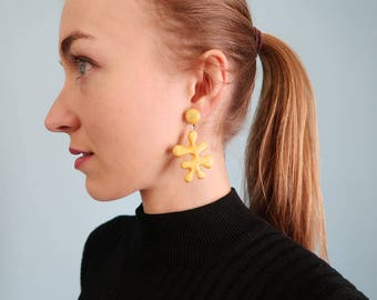 """Awesome Yellow """"Paint Blob"""" Statement Earrings!"""