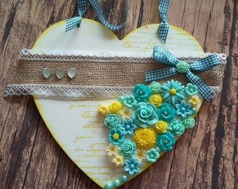 Pretty heart,hanging heart,flowers, home decor,handmade, gift,wall decor, heart,decorative heart,handmade gift,stamped heart,new home gift