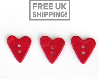 Red Heart Buttons - Set of 3 - Ceramic Buttons
