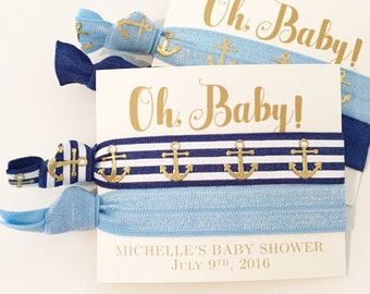 Nautical Baby Shower Hair Tie Favors   It's a Boy Hair Tie Favors, Boy Baby Shower Favor, Navy Blue Anchor Hair Ties, Nautical Baby Shower
