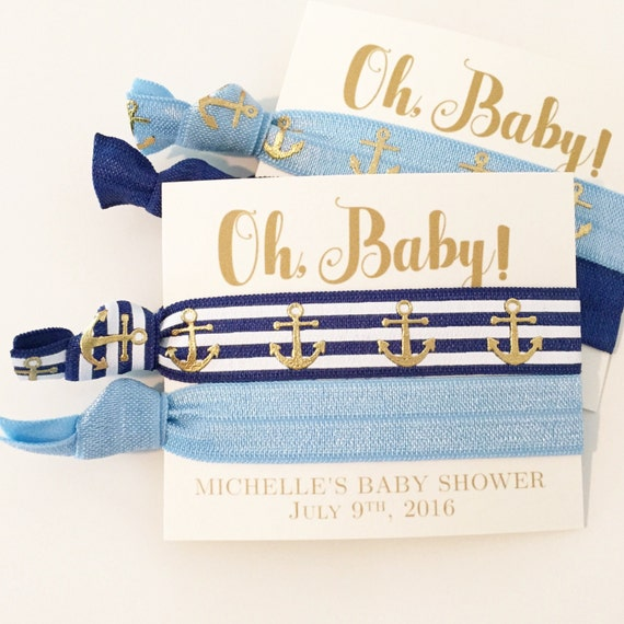 Nautical Baby Shower Hair Tie Favors | It's a Boy Hair Tie Favors, Boy Baby Shower Favor, Navy Blue Anchor Hair Ties, Nautical Baby Shower