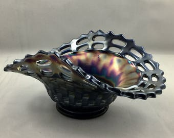 Fenton Carnival Glass Cobalt Blue Open Edged Basket