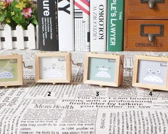 Wooden Totoro photo frame with music box: castle in the sky