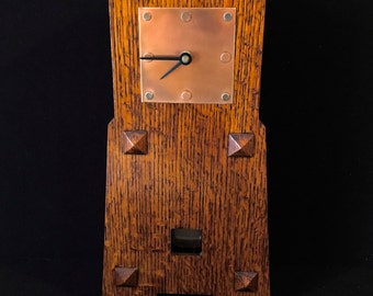 Mission Craftsman Style Homemade Quarter Sawn Oak Wood Mantle Clock Copper Face Frank Lloyd Wright Arts and Crafts