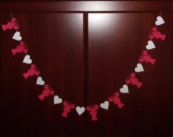 Crawfish Lobster Heart Garland - Red & White Cardstock Paper - Wedding Engagement Crawfish Boil Banner Sign Hanging Decoration