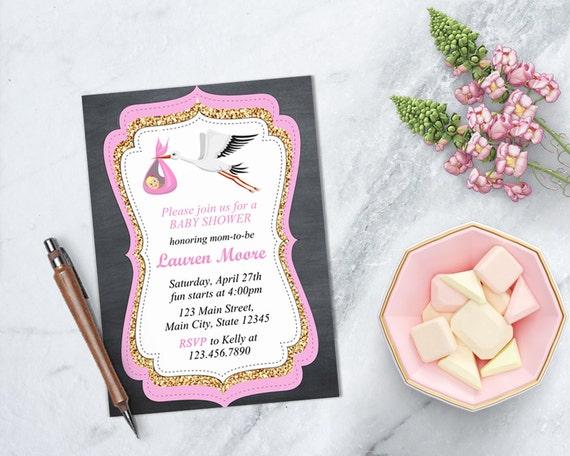Stork Baby Shower Invitations ~ Girl baby shower invite stork baby shower invitation stork baby