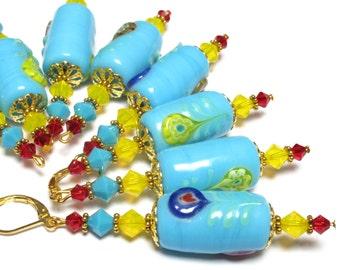Italian inspired earrings, turquoise red yellow, Mediterranean jewelry, 70s Hippie Boho fashion