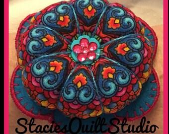 Flower Wrist Pin Cushion - Blue Hearts