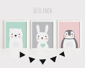 Printable Nursery Art Set of 3 Poster Baby room Wall art Kids room decor Mint Gray Pink Bear Bunny Penguin animals Print 8x10, 30x45cm