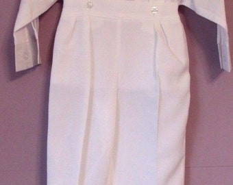 Baptism Christening  Wedding Gown Baby Boy White Suit Tuxedo Outfit 2 Piece Set