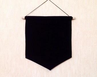 SALE Black Pin Badge Display Pennant Flag Plain Blank Canvas Fabric Banner Lapel Enamel Pin storage Board Holder - Make your own banner