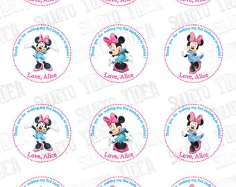 "Custom Minnie Printable Tags-Personalized Tags, DIY (You Print) 2"" Thank you Tags"