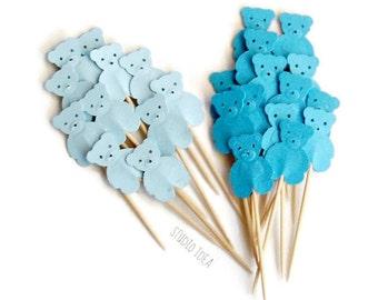 Mixed Blue Teddy Bear Cupcake Toppers, Food Picks-Set of 24 pcs