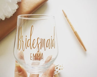 Wedding Glass, Bridesmaid Glass, Wedding Gift, Stemless Wine Glass, Personalised First Toast Glass, Bridemaiad Gift, Bride Glass