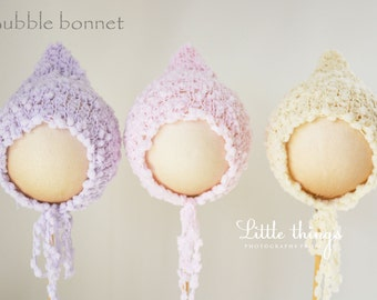 Newborn Girl Knitted Bonnet Beanie Hat with Long Lace Photo Photography Prop