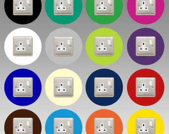 Socket Surround  | Round / Single  |  16 COLOURS to choose from  |  3mm Thick Perspex  |  40mm Border  |  Free UK Delivery