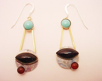Dangle Earrings Sterling and Brass with Turquoise, Black Onyx and Carnelian Mixed Metal and Stones Hanging Earrings