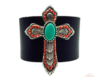 Fitbit Bracelet to protect Fitbit Flex and Flex 2 Activity Trackers - The MARY Silver, Red & Turquoise Cross Black Vegan Leather Bracelet