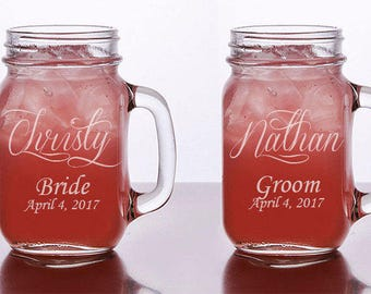 Mason Jar Glasses Set of 12, Personalized Wedding Glasses, Rustic Mason Jar Glasses, Personalized Toasting Glass, Bride and Groom glasses