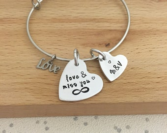 personalized couples bracelet, jewelry, long distance relationship bracelet, Army wife, Navy, Marine Girlfriend, Air Force Wife, miss you