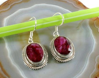 Ruby  and Silver Earrings  -- 3039