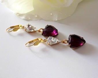 Amethyst Heart Earrings  Heart Dangles Purple Earrings Valentine Earrings  Valentine Heart Earrings  Victorian Style Jewelry