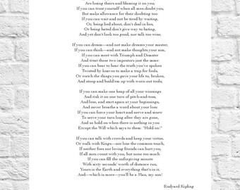 Rudyard Kipling - If - Inspiring Poem - Art Print - A4 Size
