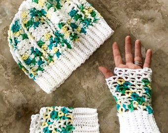 Spring Hat and Fingerless Glove Set