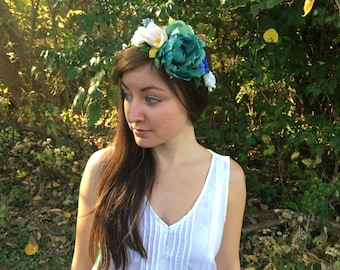 Turquoise, White and Blue Peony, Ranunculas and Magnolia Flower Crown