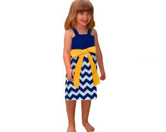 Blue or Navy + Yellow Chevron Game Day Dress- Girls