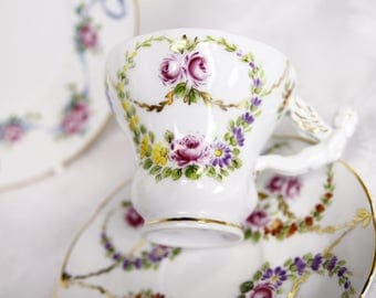 Hand Painted Cup and Saucer with Angel Handle - Pretty Marie -