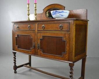 Antqiue 1930's Vintage Oak Sideboard