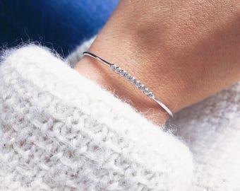925 silver bracelet - Bangle oxides CZ - silver sterling bangle