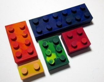 Set of 5 Colorful Lego Crayons